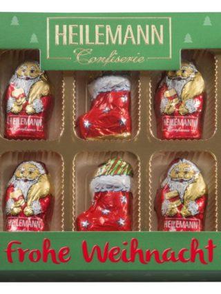 Šokolaadist jõulufiguurid punases ja rohelises karbis 100g Heilemann