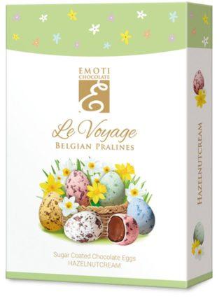Emoti Le Voyage šokolaadimunad suhkrukatte ja sarapuupähkli kreemi täidisega 125g