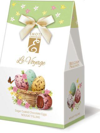 Emoti Le Voyage šokolaadimunad suhkrukatte ja sarapuupähkli kreemi täidisega 75g